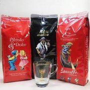 Lucaffé 3. válogatás ajándék Cappuccino üvegpohárral 3 x 1000 g szemes kávé